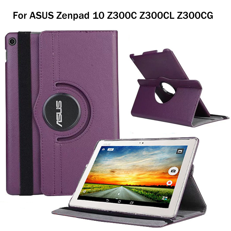 360Degree Rotating Litchi Folio Stand PU Leather Skin Case Cover For ASUS Zenpad 10 Z300 Z300C Z300CL Z300CG Z301MFL Z301ML Z301 wkae litchi texture pu leather case folio stand wallet case with card slots for moto e4 american edition