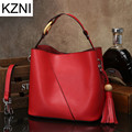 KZNI messenger bag famous brand vintage quality genuine leather female bags ladies hand bags tote bag  bolsas femininas L112044