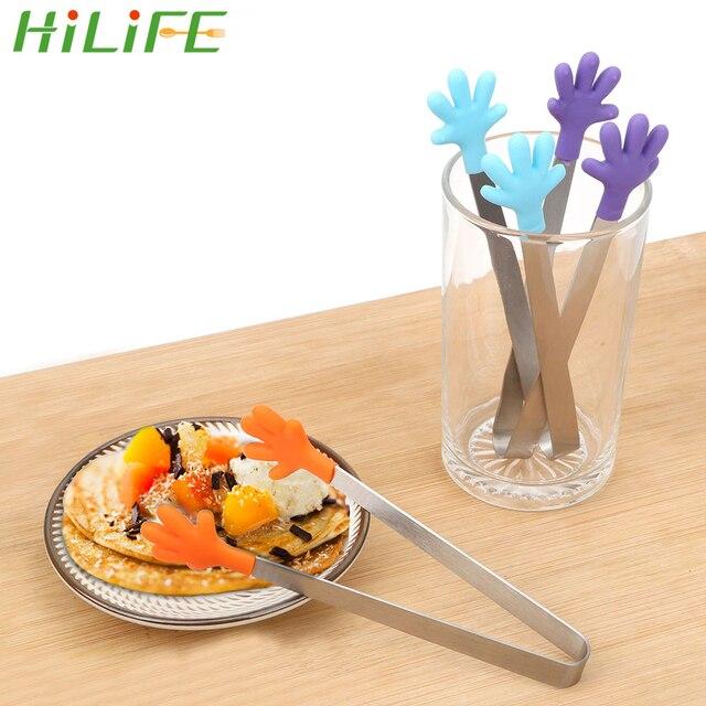 HILIFE Silicone alimentaire pince en acier inoxydable poignée ustensile main forme Mini mignon salade servant BBQ pinces cuisine outils de cuisson