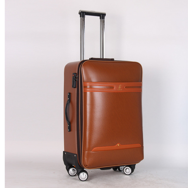 """20"""" 24"""" inches Pull rod box universal wheel travel box password check box 20 inch 24 inch men and women PU leather luggage bags"""