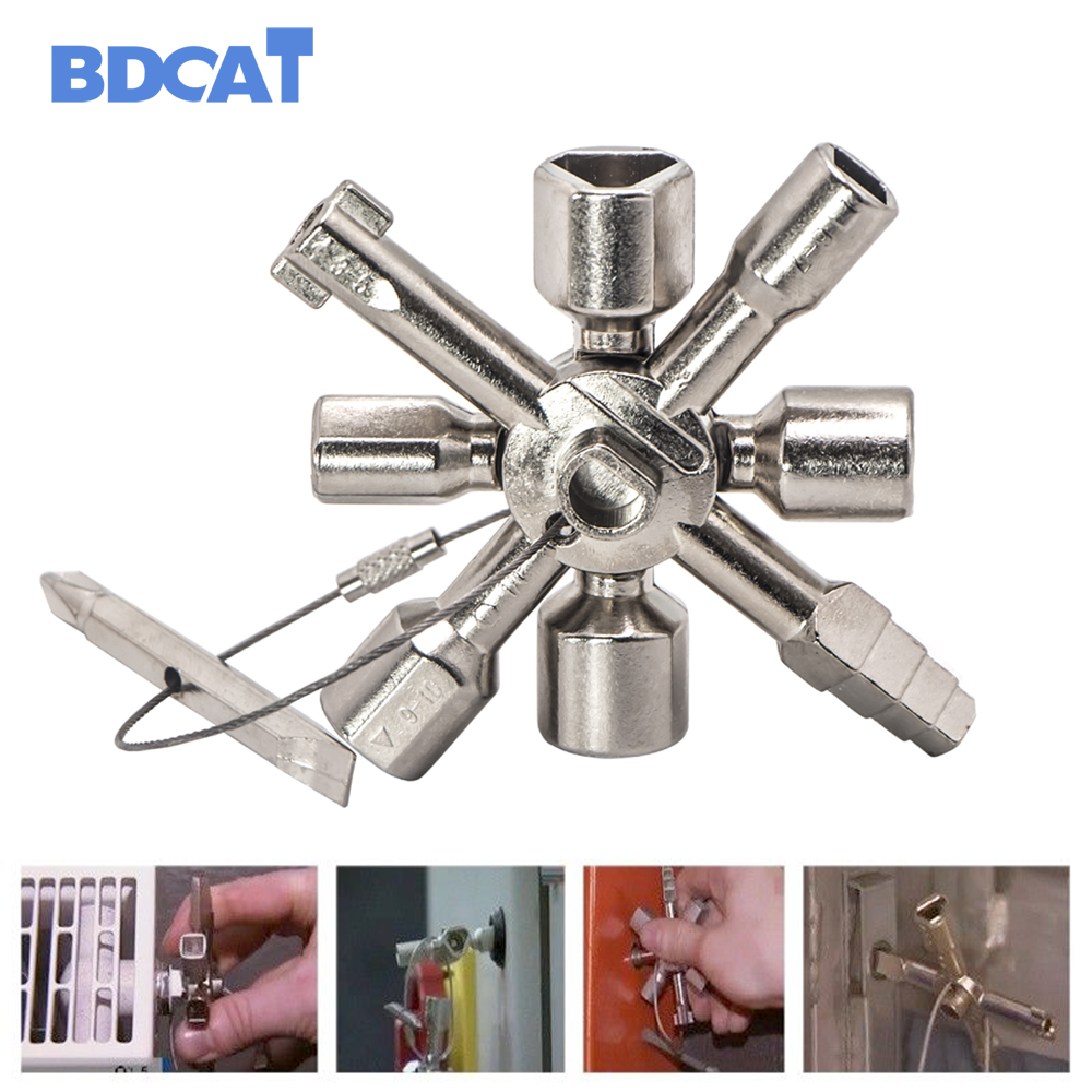 BDCAT Multi-Modell 10 In 1 Universal Quer Schlüssel Klempner Schlüssel Dreieck Für Gas Stromzähler Schränke Bluten Heizkörper
