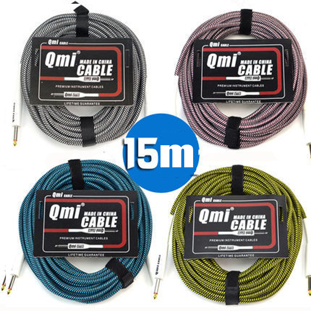 Audio Cable Electric Guitar Cable 15m  Speakers Bass Electric Box Guitar Noise Reduction Shielded Cable vox vcc90 vintage coiled guitar cable 9 meter bass cable electric guitar cable 9m