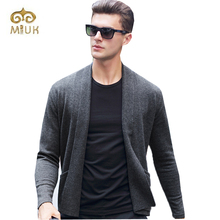 Miuk 2017 New Arrival Casual Knitted Black Gray Red Men Business Winter Warm Sweater Home Cardigans Masculino Clothes