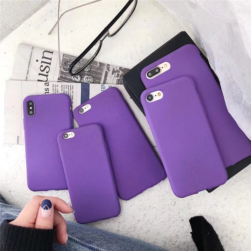 Luxury purple Fiber Silicone Phone <font><b>Cases</b></font> For <font><b>iPhone</b></font> 7 7plus <font><b>6</b></font> 6s <font><b>Plus</b></font> 8 8plus For <font><b>iPhone</b></font> X Simple Color Soft TPU Back Cover Capa image