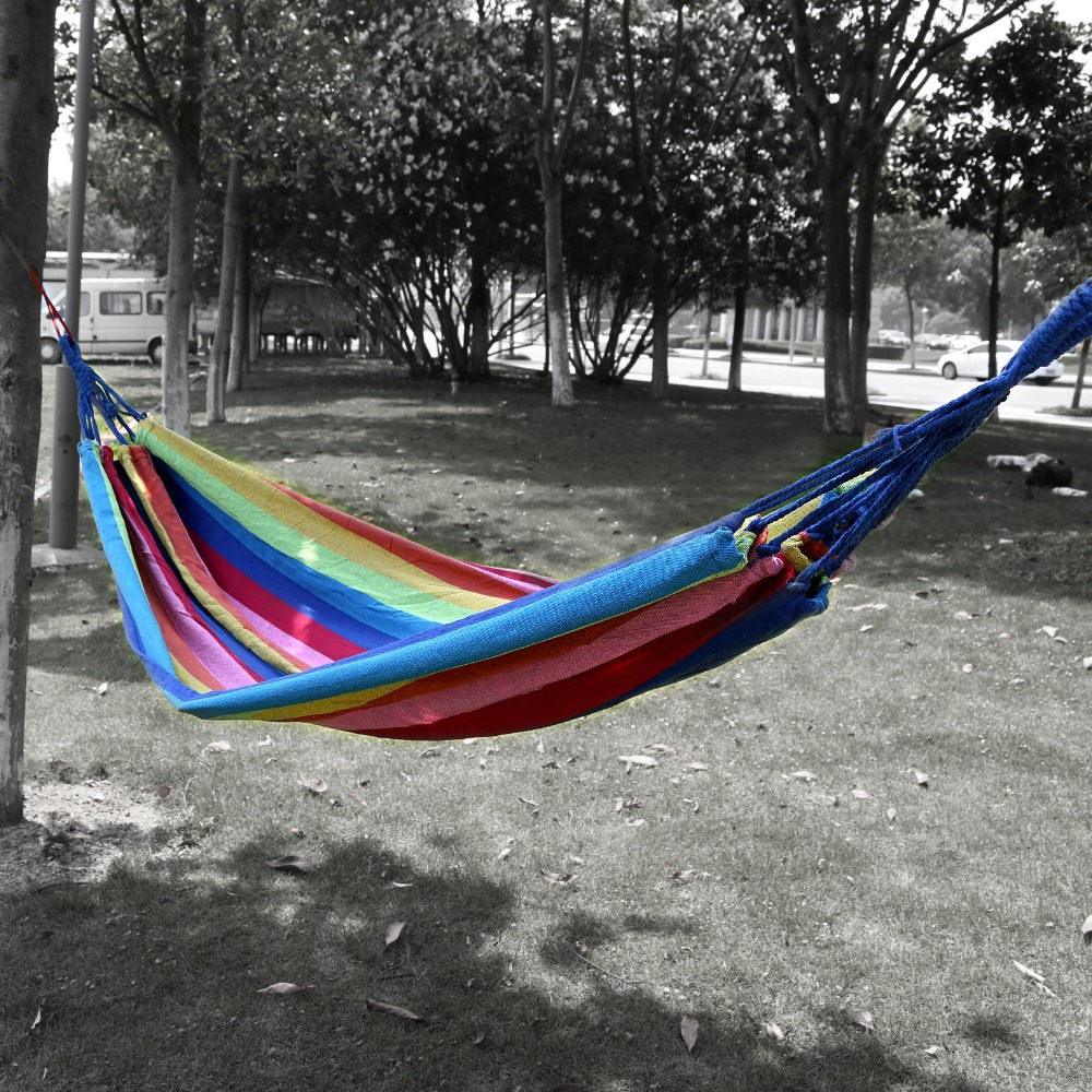 Outdoor hammock bed - Freeshipping 200x80cm New Outdoor Swing Hammock Camping Cavans Camping Portable Hanging Bed W Storage Bag