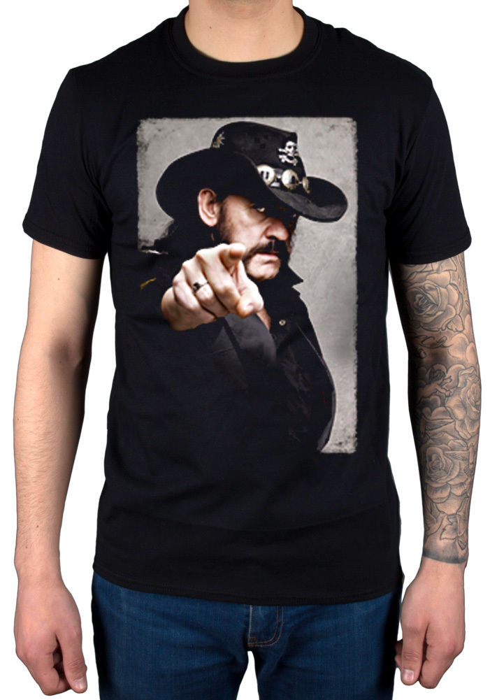 Lemmy Pointing Photo Graphic T-Shirt New Rock Merch Kilmister R.I.P