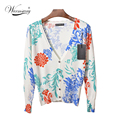 Fall Korean Women Floral graceful sexy jacket slim Cardigan Sweater Air conditioning Tops  WS-015