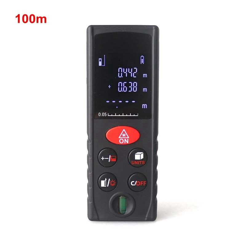 Professional 100m Digital Laser Distance Meter Rangefinder Range Finder Air Bulb Black Backlight Area Volume Measurer Tools