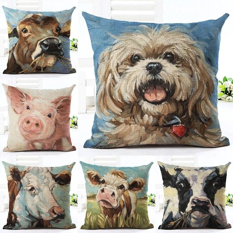 북유럽 패션 던져 베개 쿠션 홈 장식 소파 침대 귀여운 동물 인쇄 리넨 광장 쿠션 Cojines Almohadas