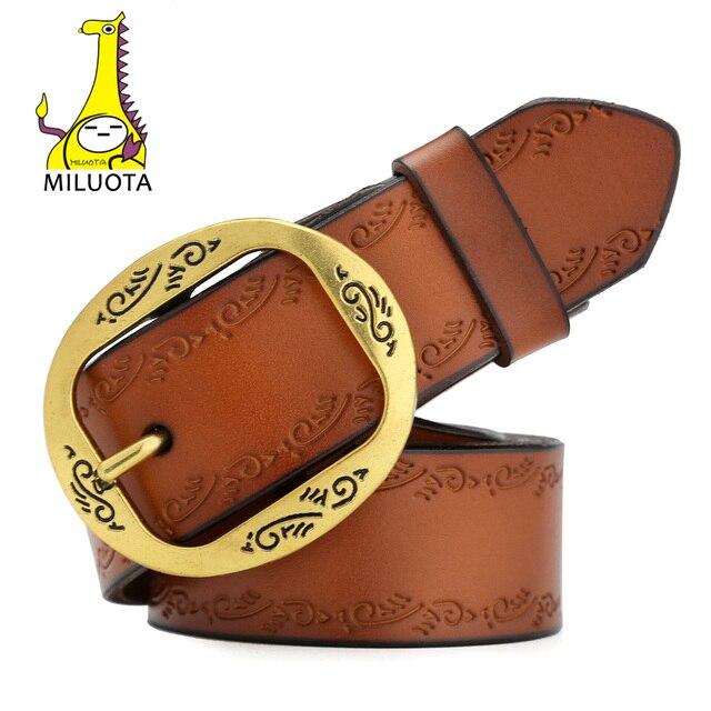 [MILUOTA] Натуральная кожа ремень женский марочный металл пряжкой широкий пояс женский модный бренд MU034