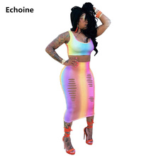 Women 2 Piece Set Crop Tank Top and Midi Skirt Colorful Rainbow Print Skirt Set Sexy Skinny Club Outfit Hollow Out Skirt Suit стоимость