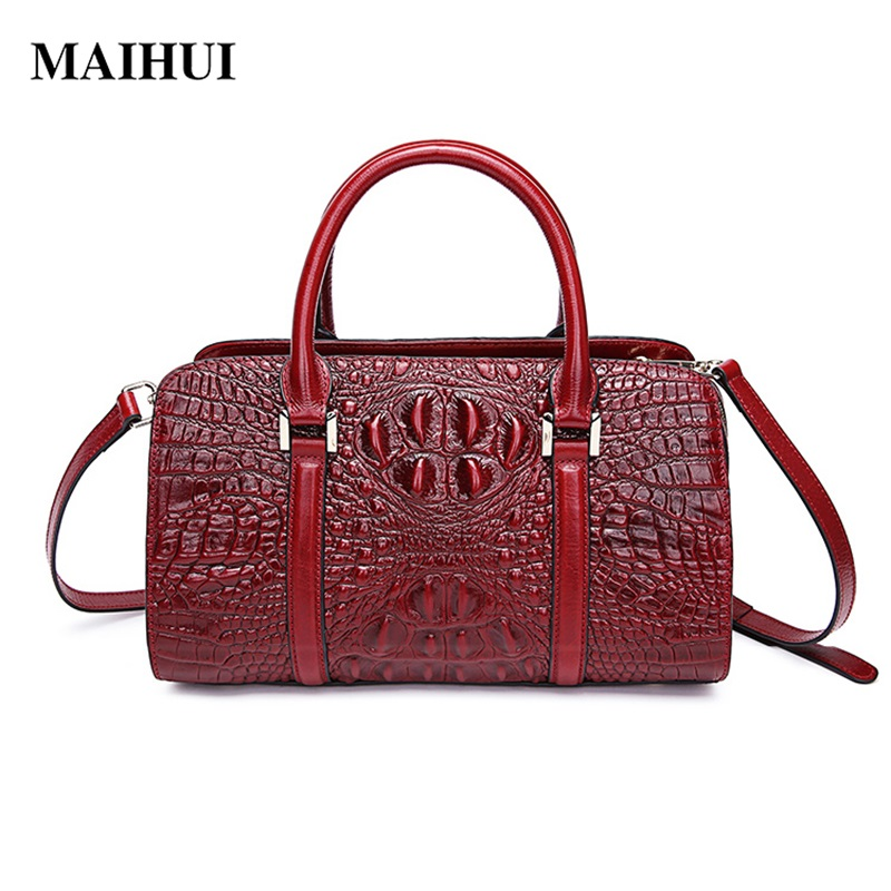 MAIHUI women leather handbags high quality first layer cow leather woman shoulder bags new classic ladies aligator boston bag 247 classic leather