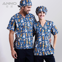 Hot New Arrival Printed Medical Clothings For Blue Doggie Dog Fabric With Comfortable Medical Uniform In