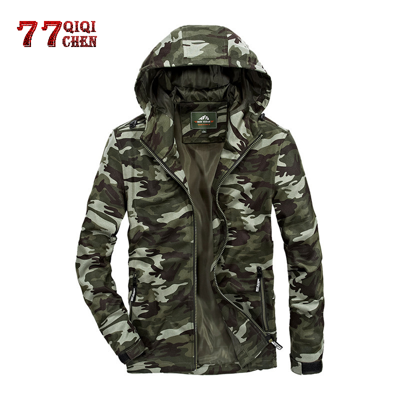 Winter Jacket Spring Camouflage Sportswear Chaqueta Hooded-Knit Army Tactical Men's Casual