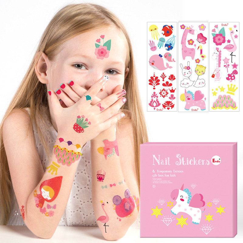 Finger Rock Children Temporary Tattoos Nail Sticker DIY Cute Waterproof Temporary Tattoos Sticker Kids Cartoon Toy Bouquets