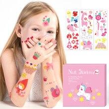 Tatuajes temporales de dedo Rock para niños pegatina de uñas DIY bonitos tatuajes temporales impermeables pegatina niños juguetes de dibujos animados Ramos