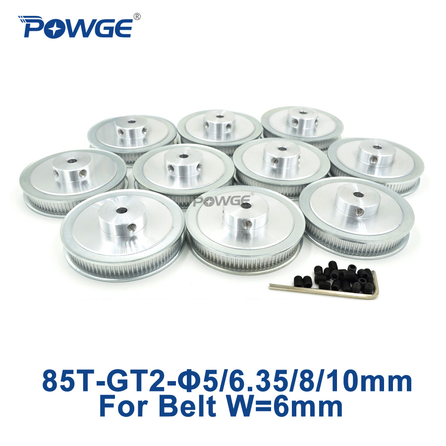 POWGE 10pcs 85 Teeth GT2 Timing Pulley Bore 5mm 6 35mm 8mm 10mm for width 6mm