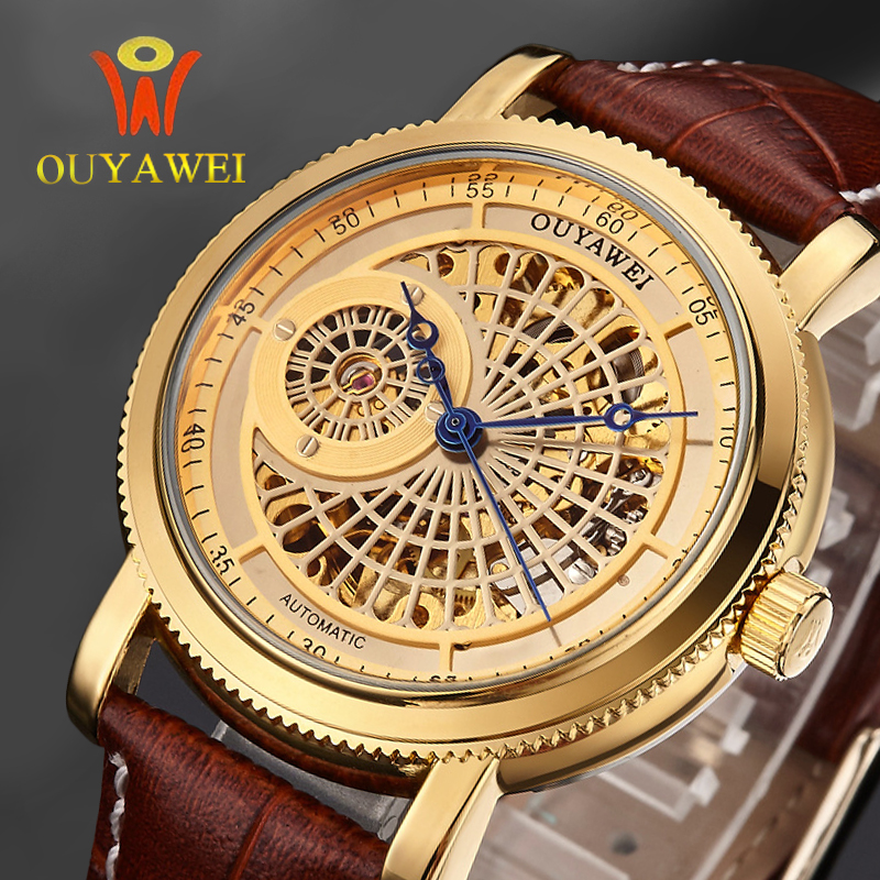 OUYAWEI Skeleton Hollow Fashion Mechanical  Automatic Self-Wind Men Luxury Male Business Leather Strap Wrist Watch Classic Gold luxury cool high quality automatic self wind skeleton hollow dial mechanical watch with leather strap gift to men