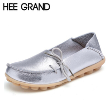 HEE GRAND Women Leather Shoes Casual Slip On Loafers Knot Sliver Gold Flats Soft Platform Shoes Woman Summer Size 35-40 XWD756