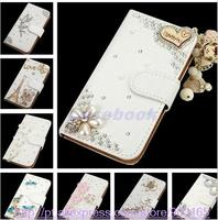 NEW Fashion Crystal Bow Bling Tower 3D Diamond Leather Cases Cover For SONY Xperia M2