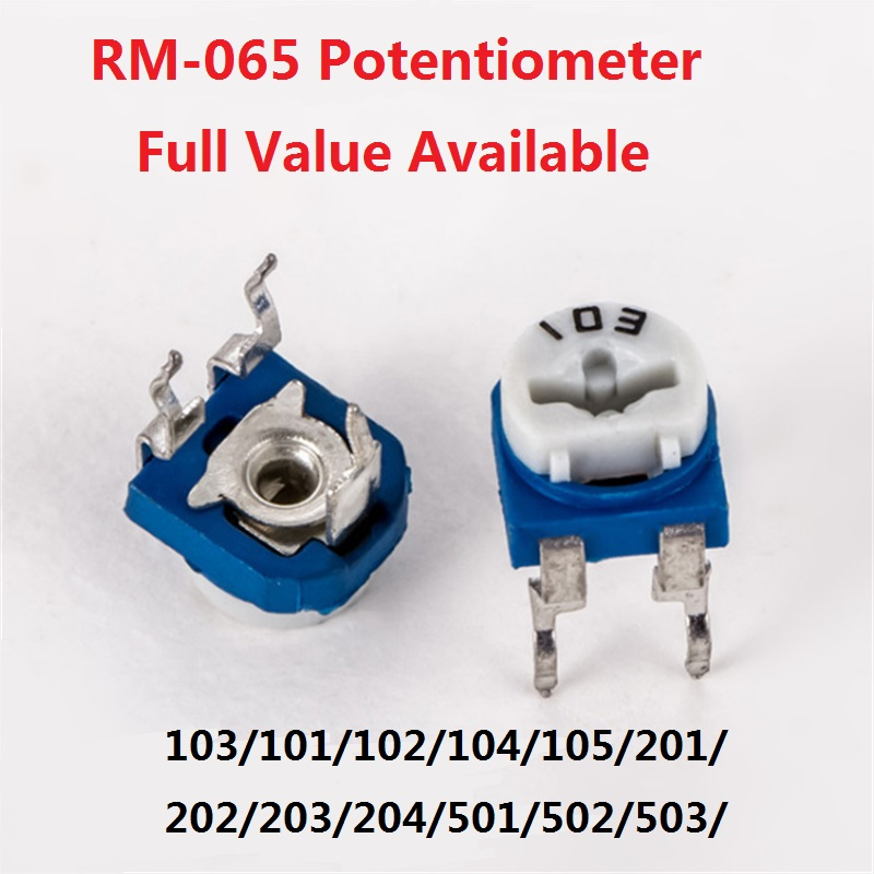 Резистор для триммера RM065, 20 шт., потенциометр, регулируемый резистор, RM-065-103/101/102/104/105/201/202/203/204/501/502/503/504/1K 10k