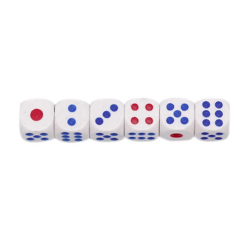 Dado para juegos de beber, 6 uds., 10mm, acrílico, blanco, redondo, esquinero, transparente, portátil, juego de mesa, gran oferta