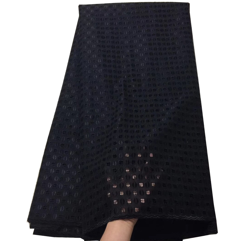 (5yards/pc) New arrival black color African Swiss voile lace fabric with simple and elegant hole design for making dress CLS203(5yards/pc) New arrival black color African Swiss voile lace fabric with simple and elegant hole design for making dress CLS203