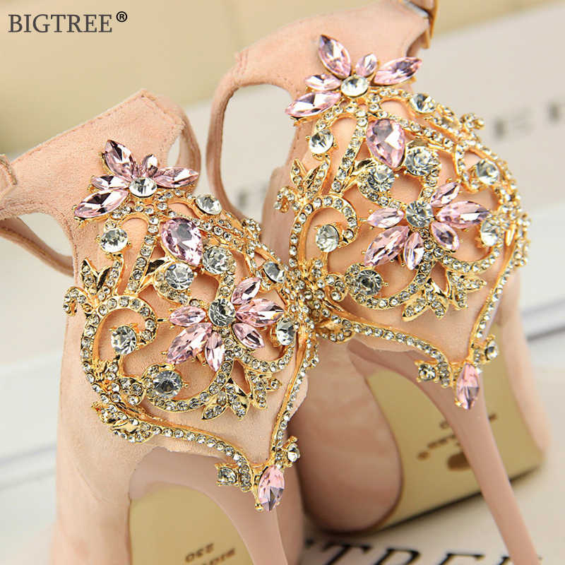 2019 neue high heels party hochzeit schuhe Frauen Glitter kristall strass pumpen ankle strap pumpt Sexy Damen Stiletto 10 CM ferse