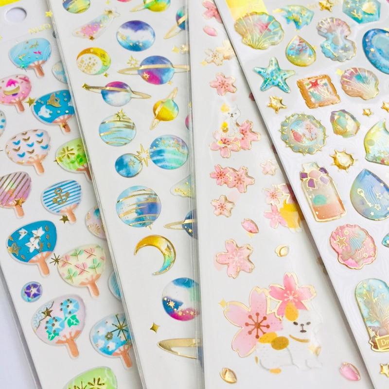 1 Sheet Crystal Epoxy Starry Sky Sakura Unicorn Whale Decorative Stickers Dairy Album Decor Phone Bottle DIY Stick Label