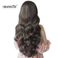 SHANGKE 26 Long Wavy Half Wigs For Black Women Natural Heat Resistant Synthetic Wigs For African