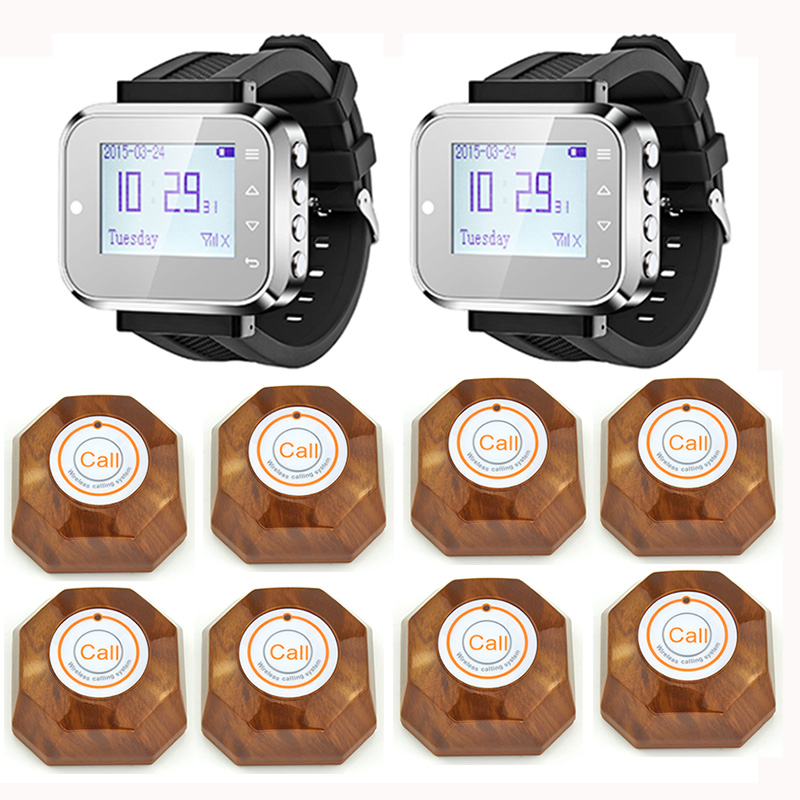 2pcs Hot Sale Black Waiter Service Calling System Watch Pager Service System (KR-C166) + 8pcs F61 Wireless Transmitter wireless service call bell system popular in restaurant ce passed 433 92mhz full equipment watch pager 1 watch 7 call button
