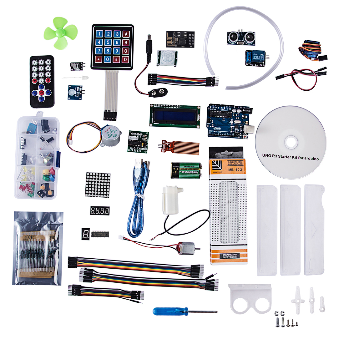 Modiker 28 Sensors For UNO R3 Deluxe Basic Starter Kit For Beginner With Wifi Module With CD Tutorial For Arduino Programmable
