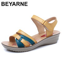 BEYARNE Summer New Mother Sandals Soft Soles Comfortable Ladies Fashion PU Leather Sandals Women Sandals Plus