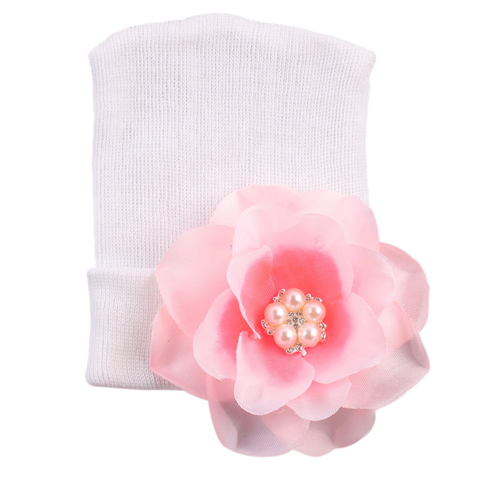 Baby Infant Flower Cotton Beanies Baby Hat Big Flower Toddler Skull Cap Photography Props