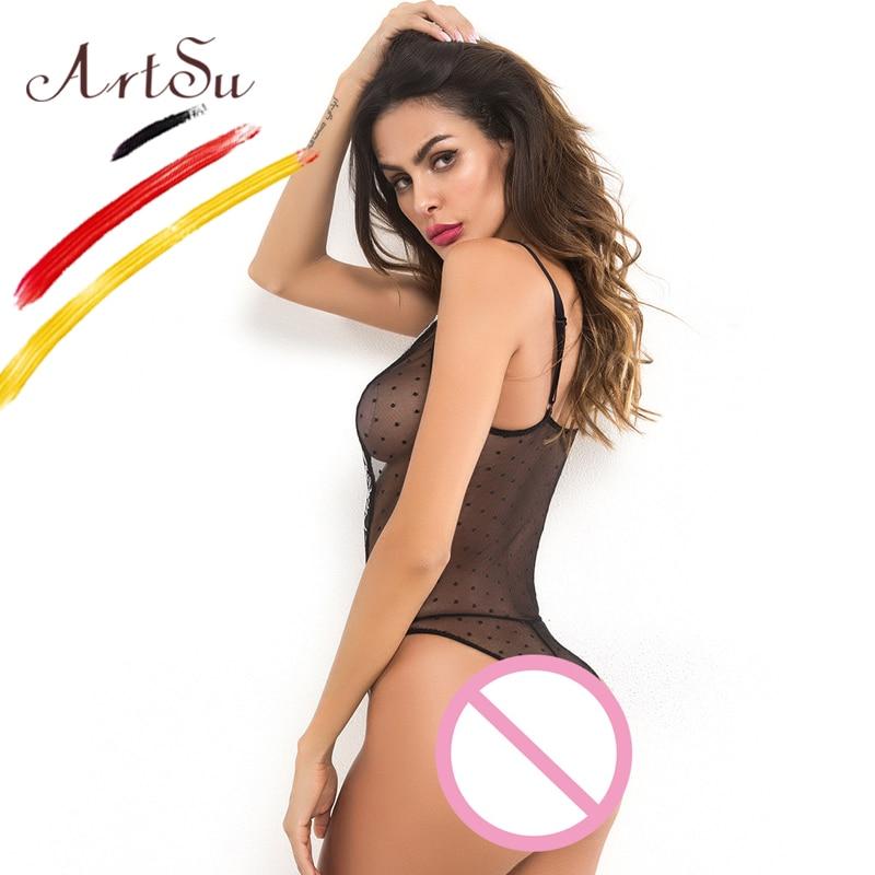 ArtSu Sexy Bodysuit Women Sleeveless Deep V-Neck Fit Body Women 2018 Black Mesh Floral Embroidery Diamond Jumpsuit Transparent