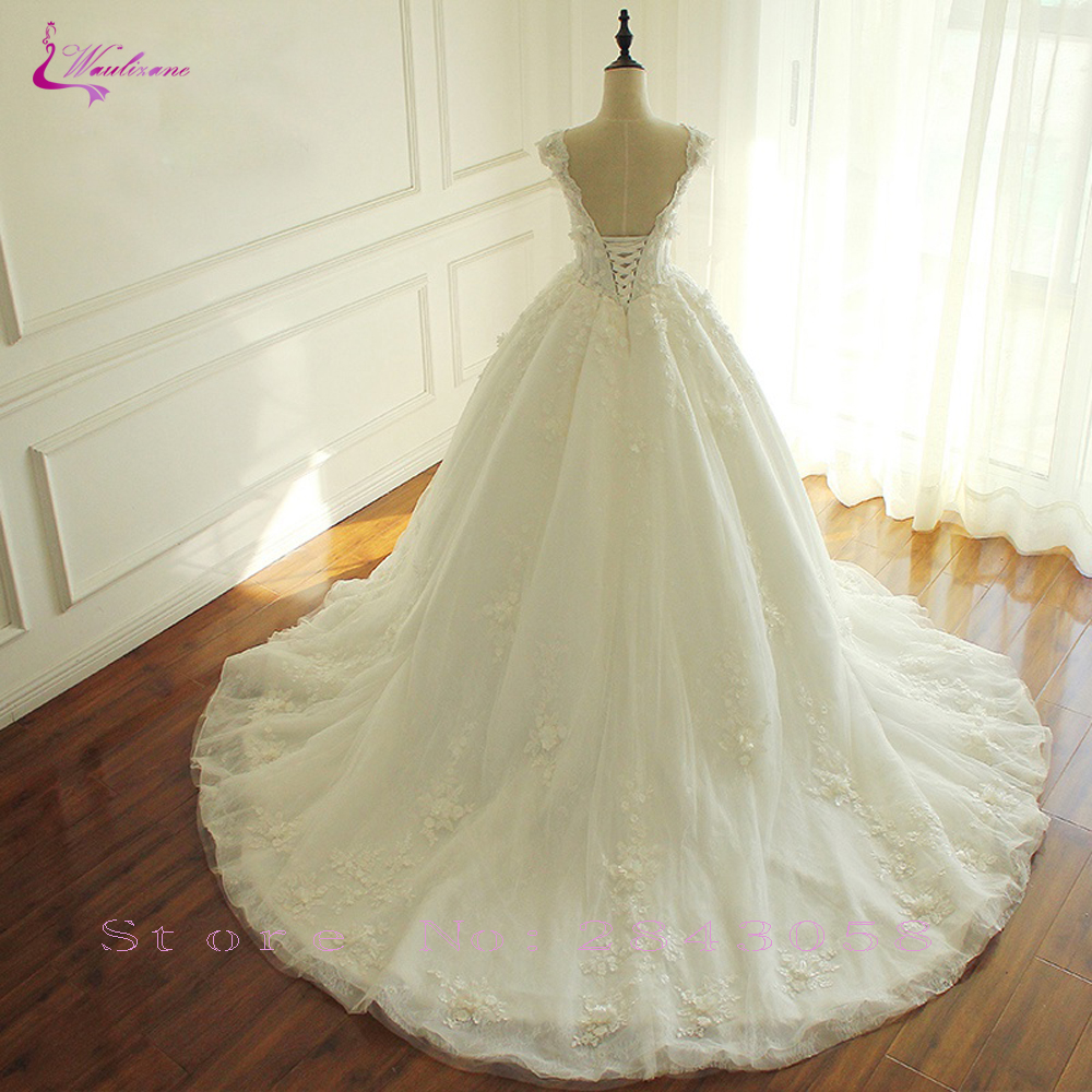 Image 3 - Waulizane Lace Up V Neckline Ball Gown Wedding Dress With Elagant Lace And 3d Flowers Sleeveless Bridal Dress-in Wedding Dresses from Weddings & Events
