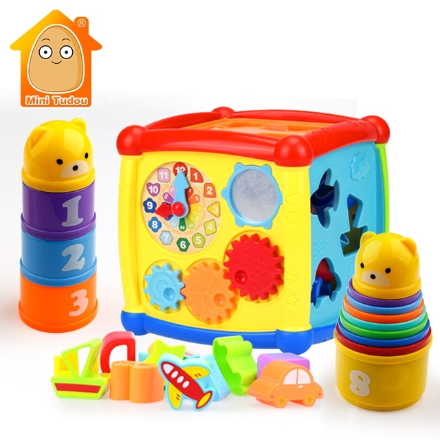 5859ac405801 Baby Toys Multifunctional Learning Cube With Clock Sort Geometric ...