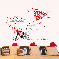 Best Love Quote Wall Sticker Home Decor Living Room DIY Colorful Love Heart Bike Art Bedroom