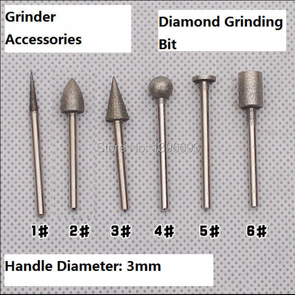 Free Shipping 6pcs/set Diamond Grinding Burr 3x8mm Coated Grinder Head For Grinder.Grinding Gemstones,glass,Mohs 10 Degree.