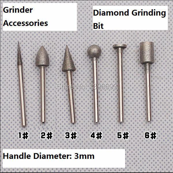 Free Shipping 6pcs/set Diamond Grinding Burr 3x8mm Coated Grinder Head For Grinder.Grinding Gemstones,glass,Mohs 10 Degree.