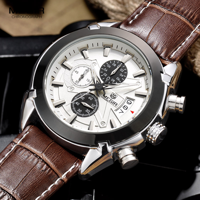 Megir Leather Watch Men 2019 Top Brand Luxury Quartz Watch Military Chronograph Waterproof Watches Reloj Relogio Masculino 2020