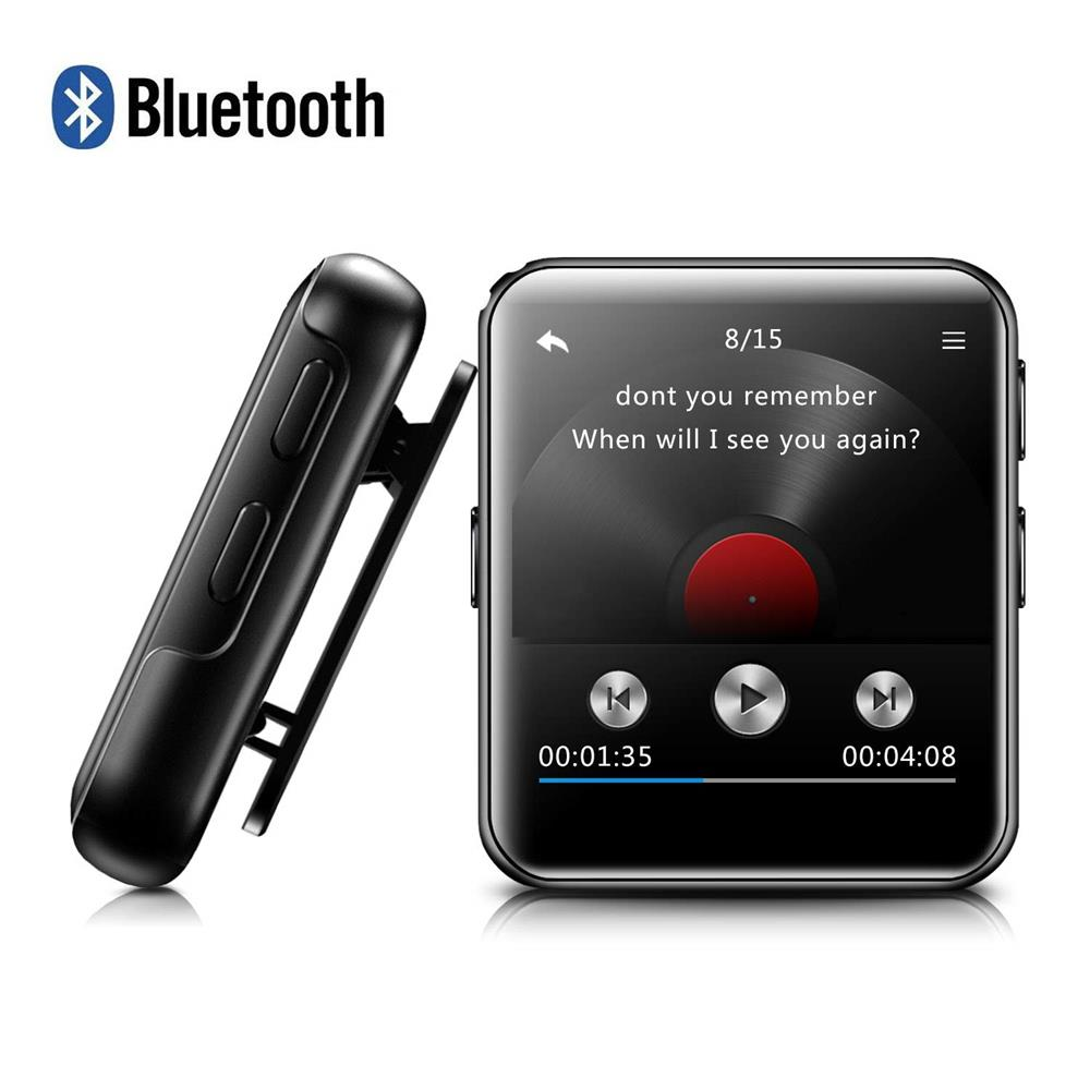 MP3 Player Bluetooth4.2 With Clip HiFi Metal Audio Music Player With FM, Recorder Touch Screen Wrist MP3 Player For Running