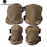 Emersongear almofadas protetoras para joelho  conjunto de almofadas de proteção para cotovelo  airsoft  combate  tático  multicamadas  preto bd2772