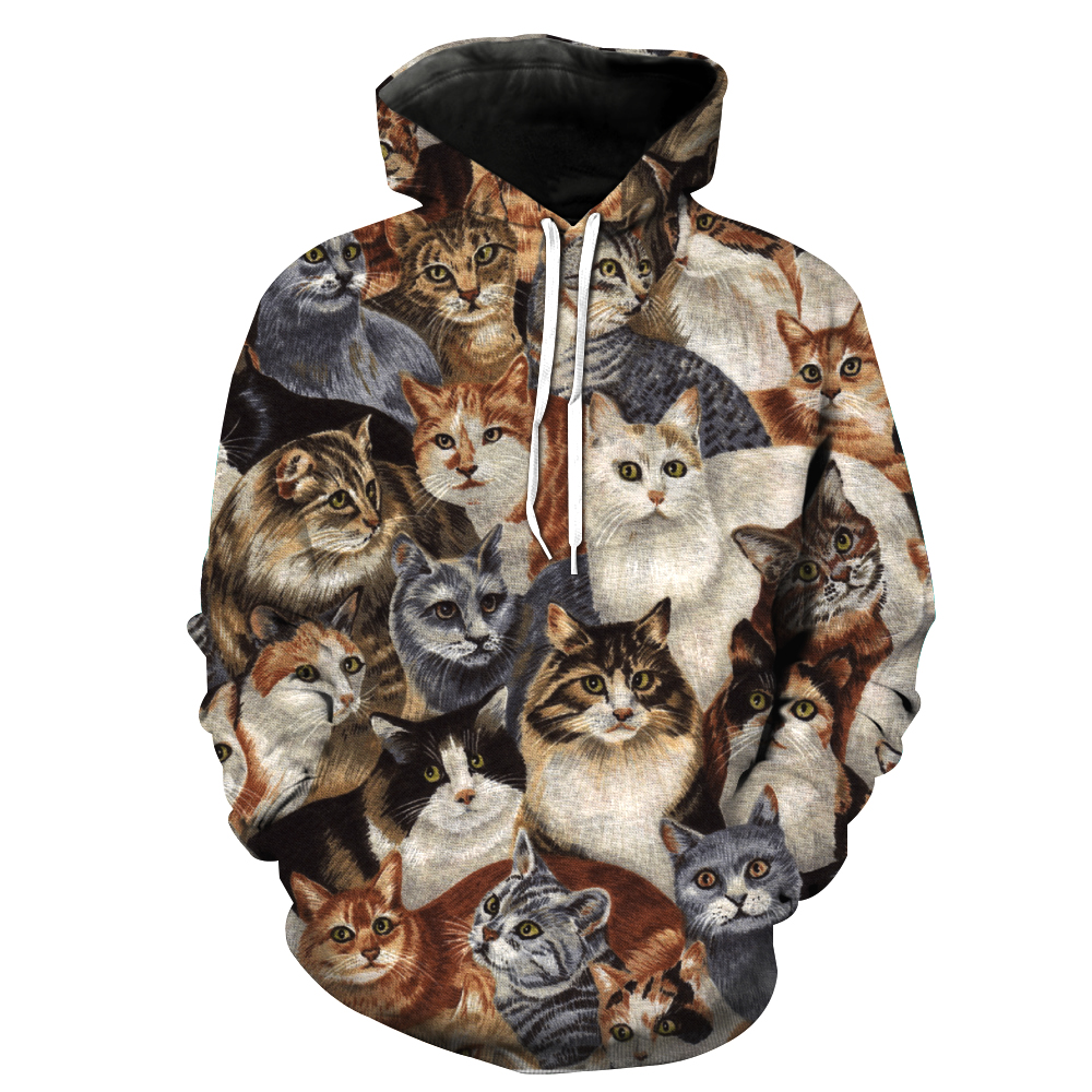 MWBAY 3D Cat Animal Sweatshirts Men/Women Hoodies with Hat Print Autumn Winter Loose Thin Hooded Hoody Tops Couple