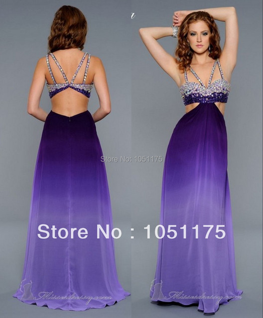 Lavender Ombre Long Prom Dresses with Straps