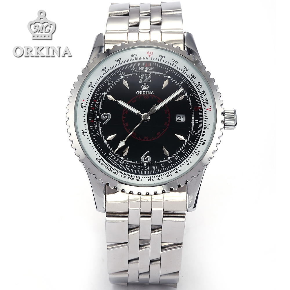 Orkina Relojes 2016 Clock Men Luxury White Dial Date Display 2 Colors Stainless Steel Band Wrist Watch Gift Cool Horloges Mannen orkina montres 2016 new clock men quarz watch uhr uhr cool horloges mannen gift box wrist watches for men