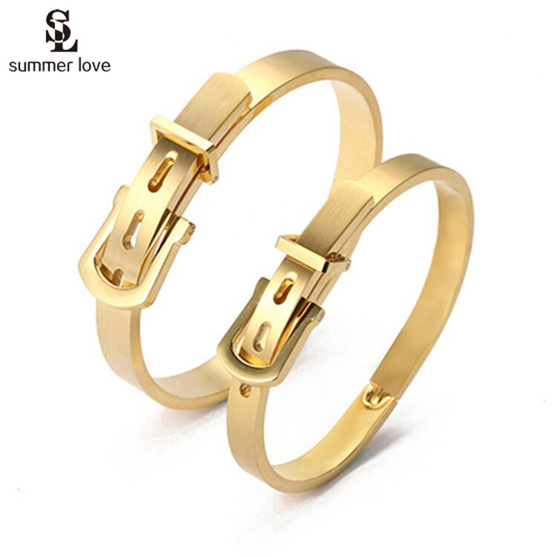 Ny 316L Titanium Steel Belt Buckle Armbånd For Women Gold Color Bangles Charm Sølv Carter Belt Mansjett Menns Armbånd Smykker