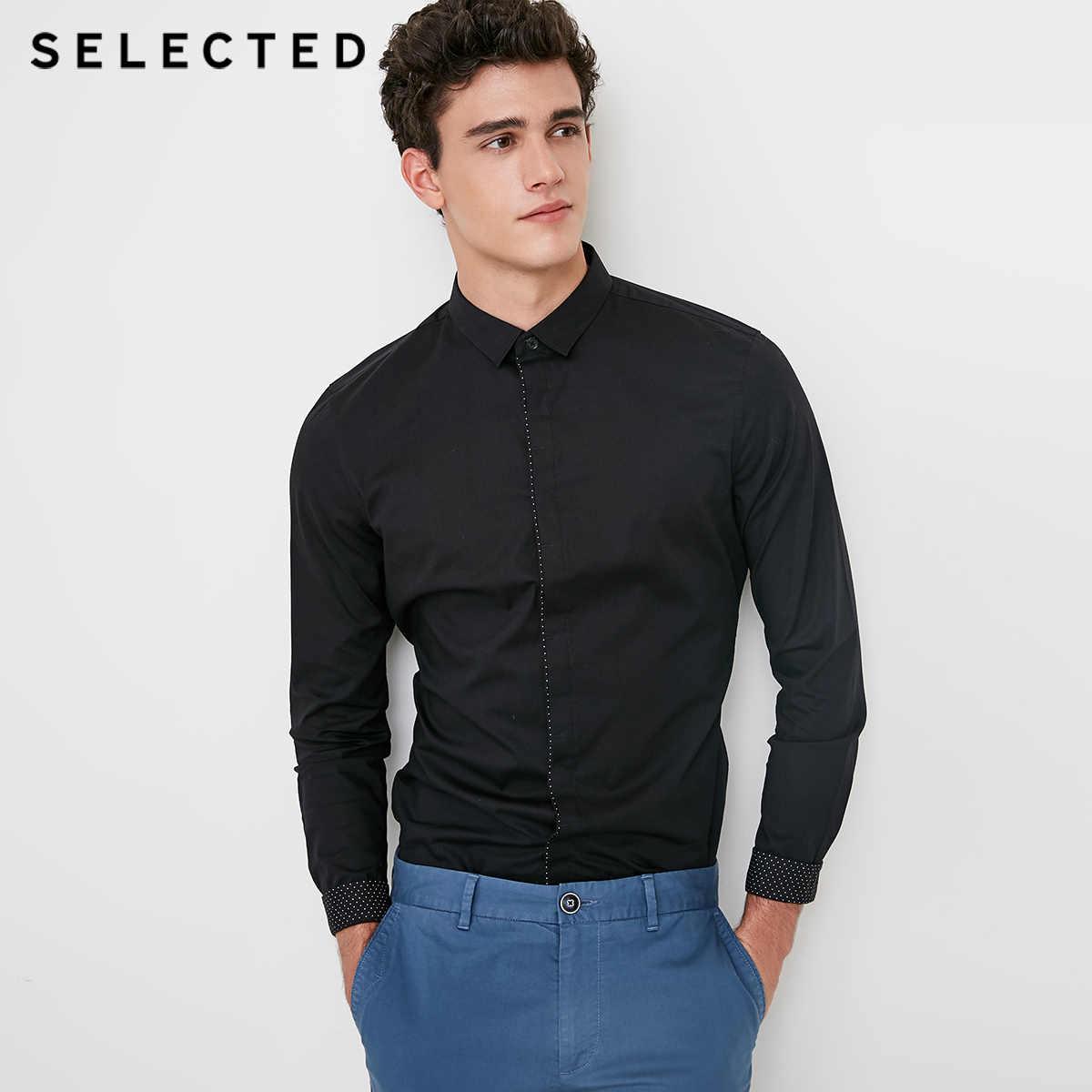 Выбранный новый человек хлопок microprojectile Тонкий Бизнес Повседневная рубашка с длинными рукавами S | 418305531