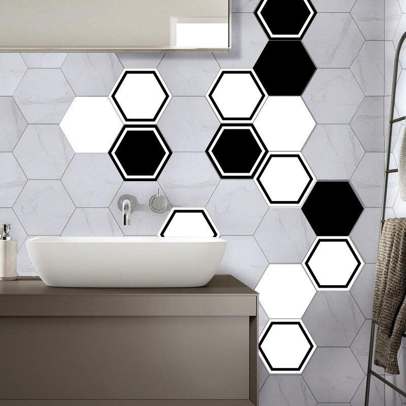 Hexagonal Wall Tile Kitchen Sticker Creative Geometric Wallpaper Waterproof Bat Angle Plastic Decal Mosaic Stickers 10pcs