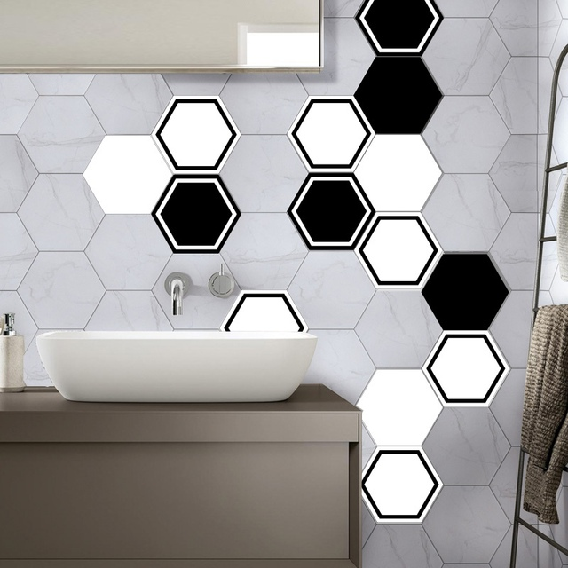 Hexagonal Wall Tile Kitchen Sticker Creative Geometric Wallpaper Waterproof Bat Angle Plastic Decal Mosaic Stickers 10pcs